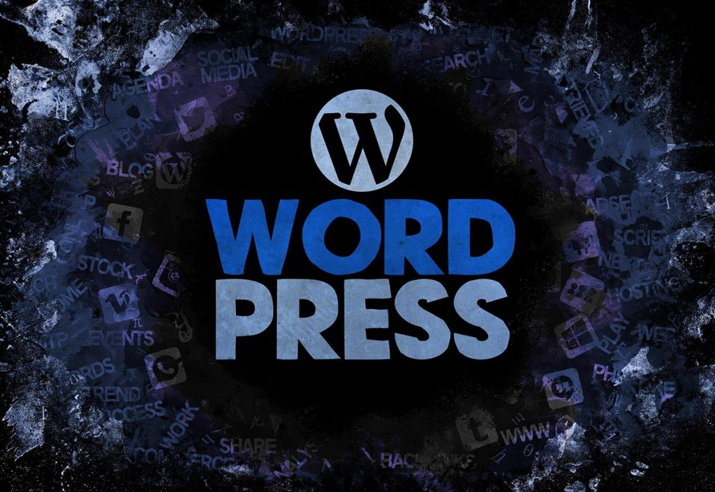 WordPress Blue CMS Lettering