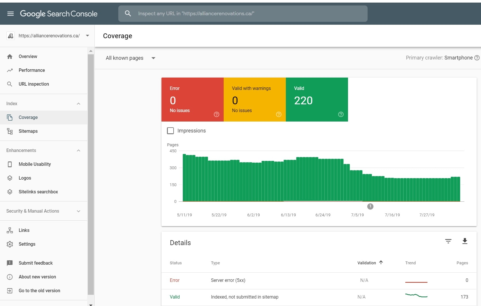 Google Search Console Errors, Warnings and Valid